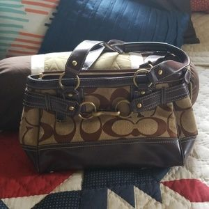 Brown purse with gold accents